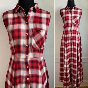 Zara Red Plaid Sleeveless Maxi Dress